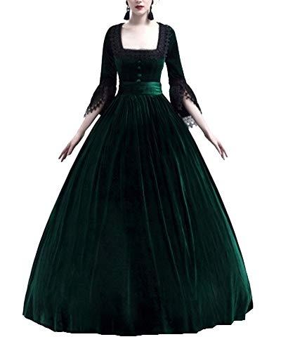Liangzhu Damen Prinzessin Mittelalter Langarm Große Glockenhülse Kleid Mit Hohem Taille,Gothic Viktorianischen Königin Kostüm Mit Schnürung Und Spitze Grün XL