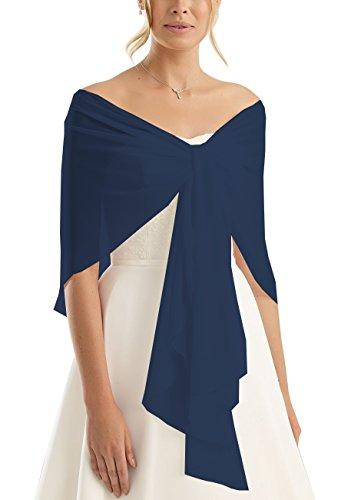 Brautstola Schal in Form, Stola Rundstola Chiffon zum Hochzeitskleid / Abendkleid, dunkelblau blau