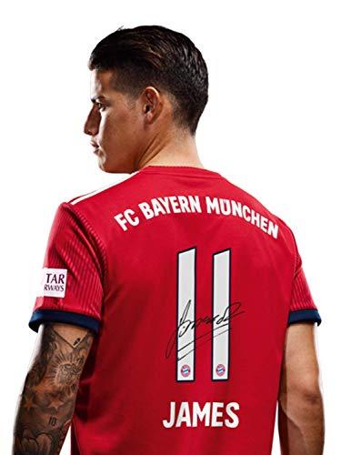 FC Bayern München Trikot Home, James Rodriguez, Rückennummer mit Unterschrift Flock, Jersey 18/19 Größe L
