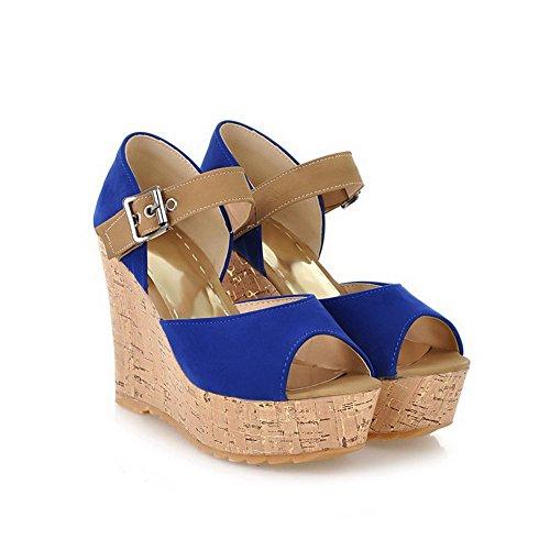Odomolor Donna Fibbia Tacco Alto Pelle Di Mucca Colore Assortito Sandali Azzurro