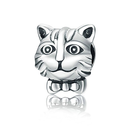 Gattino genuine 925 sterling silver lovely gattino gatto animale perline bracciali fascino originale per donne gioielli fai da te scc193