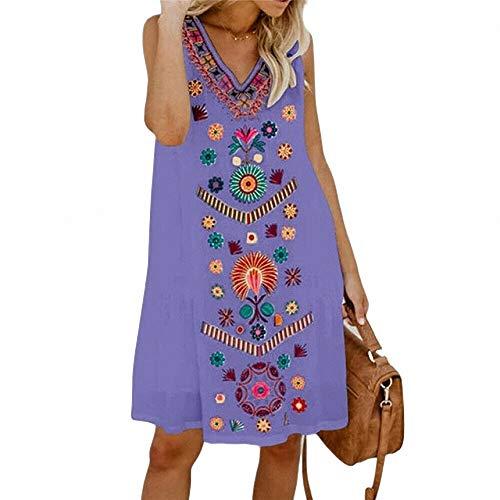 FeiXing158 Sommer Minikleid Ärmellos V-Ausschnitt Weiblich Exotisch Bedruckt Damen Lose Minikleid Boho Pleated Faux Wrap