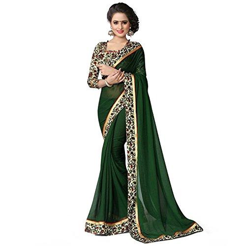 Kjp Villa Women\'s Georgette Dark Green Free Size embroidery Saree With Blouse Pics (zeel saree-264)