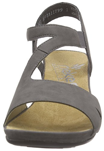 Rieker - 64368 Women Open Toe, Sandali Donna Grigio (Grau (dust / 42))