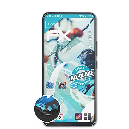 atFolix Schutzfolie passend für Vivo NEX S Folie, ultraklare & Flexible FX Bildschirmschutzfolie (3X)