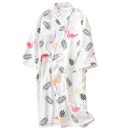 Bata Algodón Japonesa Mujer Bata Pijama Kimono [Flor