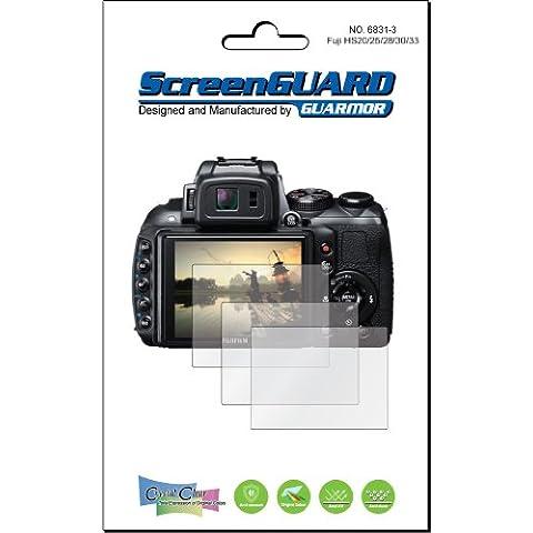 3 x Fujifilm Fuji FinePix HS20 HS25 HS28 HS30 HS33 EXR de pantallas para cámaras digitales de pantalla Protector para de. Ajuste exacto, no requiere. (3 piezas de