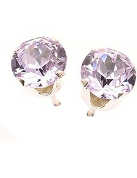 pewterhooter 925 Sterling Silber Ohrstecker Ohrringe handgefertigt mit funkelnden Violet Kristalls aus SWAROVSKI®.
