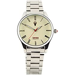 Swiss Emporio Men's Quartz Swiss Made Watch with Beige Dial Analogue Display and Silver Stainless Steel Bracelet SE02CRSL50
