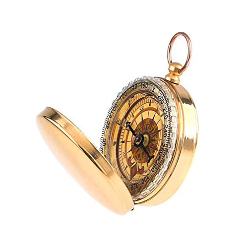 Classic Brass Pocket Watch Style Portable Flip-Open Compass for Outdoor Camping Hiking Traveling Navigation Tools Bronzing Color