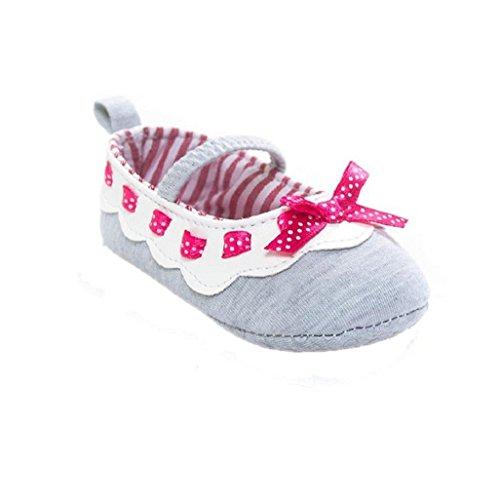 Auxma Baby Prewalker Schuhe,Baby Bowknot Schuhe,Sneaker Anti-Rutsch-Soft Sole Kleinkind Schuhe für 0-18 Monat (12-18 M, Rosa) Grau