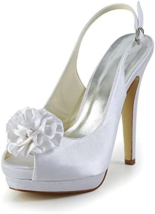 JIAJIA JIA JIA Zapatos de Novia de Las Mujeres 4092A Peep Toe Tacón de Aguja Flor de Raso Sandalias de Plataforma...