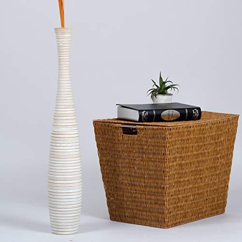 Leewadee grande vaso da terra, 15x90 cm, holz, white wash
