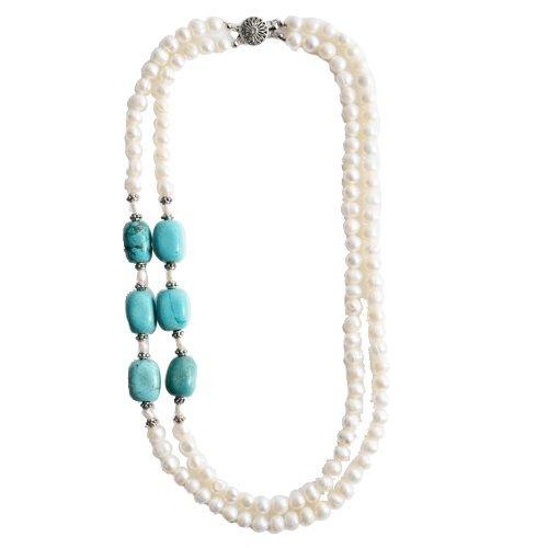 Lureme Naturale Turchese Pietra perlina Genuine d'acqua dolce Pearl Double Strand Collana Women 100535