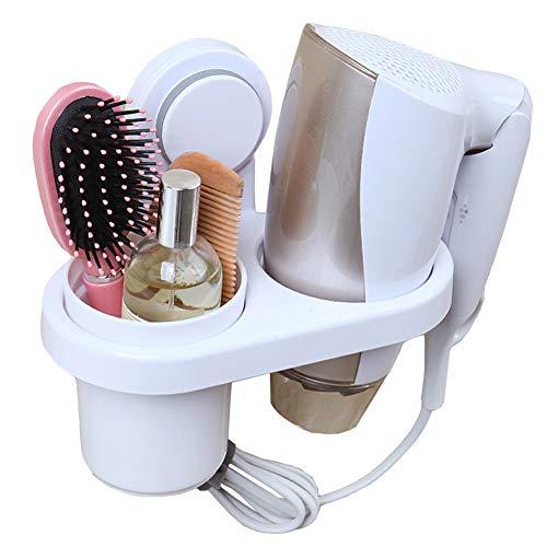 Support pour sèche-cheveux, Teerfu sèche cheveux Organiseur étagère Rack support, support mural avec tasse, accessoires de salle de bain Washroom Organiseur