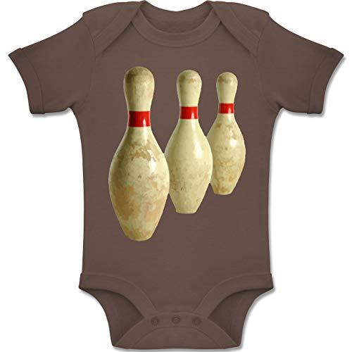 Sport Baby - Alte Pins Kegel Vintage - 6-12 Monate - Braun - BZ10 - Baby Body Kurzarm Jungen Mädchen