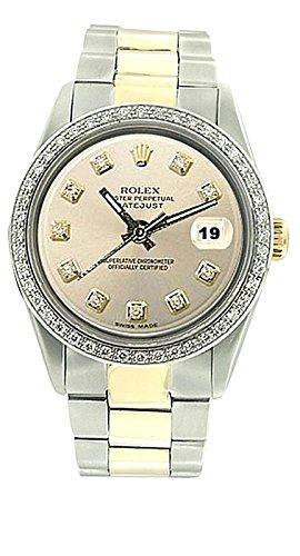 SS & braccialetto d'oro Oyster Gents lunetta quadrante diamante orologio Rolex