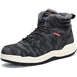 Dannto Hombre Botas de Nieve Al Aire Libre Senderismo Impermeables Deportes Trekking Zapatos Invierno Forro Piel Sneakers Calientes Botines(Camuflaje,44