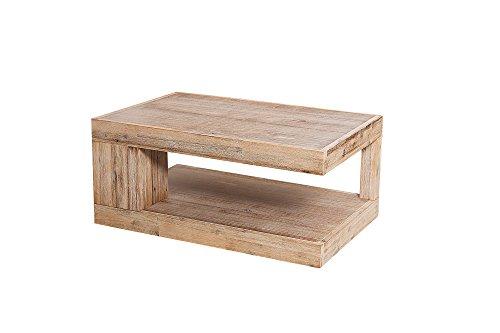 DuNord Design Couchtisch Sofatisch GOA 90cm Akazie Echtholzfurnier Holz  Tisch Teakgrau Gekälkt