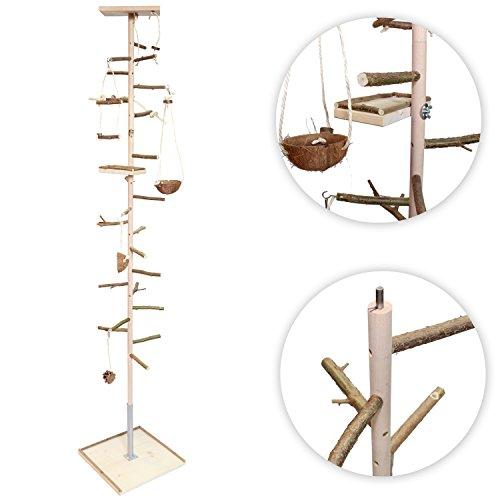 ATTRAKTION: Zimmerhoher Kletterbaum für Vögel mit viel Vogelspielzeug, Schaukeln, Sitzbrett und Naturholz Sitzstangen