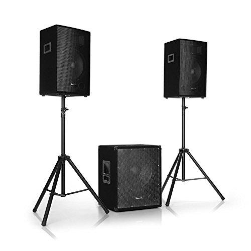 """auna Cube 1512 • 2.1 Aktiv PA-Set • 1200 W Gesamtleistung • 38 cm (15"""") Subwoofer • 2 x 30 cm (12"""") Lautsprecher • Bi-Amping Technologie • Echo • Bass- und Treble-Control • inkl. Zubehör • schwarz"""