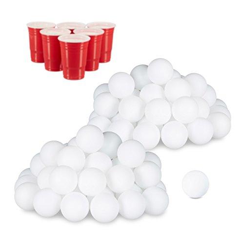 relaxdays 96er Set Beer Pong Bälle, ohne Aufdruck, Kunststoff, ohne Naht, Trinkspiel, Tischtennisbälle, 38 mm, weiß