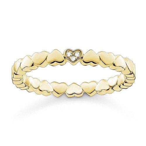 THOMAS SABO Damen-Ring Silber Herz Pavé vergoldet Diamant weiß Gr. 52 (16.6) - D_TR0013-924-14-52