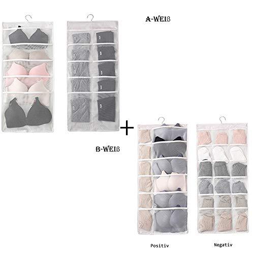 Matty-LZ Faltbaren Kleiderschrank Organizer Hängend für BHS Socken Schals Strumpfhosen Krawatten, Aufbewahrungstasche Unterwäsche Aufbewahrung Aufbewahrungsboxen (78.5cm x 36.5cm, A-Weiß&B-Weiß) (Hängende Schal-organizer)