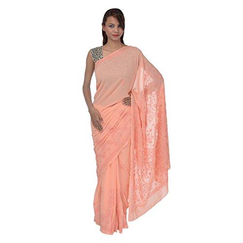 Saundarya Sarees Women Cotton Chikan Peach Saree