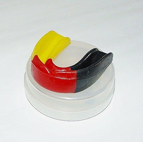 BAY® BRD LINE ZAHNSCHUTZ ---- GERMANY mit BOX, Sport Mundschutz, Zahnschützer, Mundschützer Deutschland schwarz rot gold gelb National Nationalfarben Patriot Deutschlandfarben Deutschlandfarbe