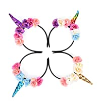 CosCosX 4 Pcs Girls Unicorn Horn Headband with Flowers for Kids Adults Rainbow Birthday Party Favors Dress Cosplay, GOLD and SILVER