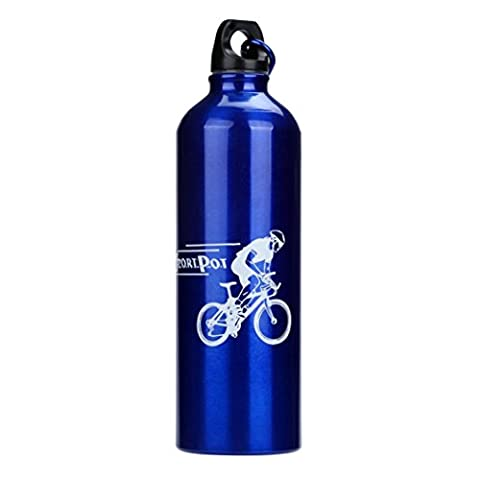 Kingko New Fashion Water Bottle Cycling Camping Bicycle Sports Hiking Running Aluminum Alloy Water Bottle 750ml Small Spout for Easy Drinking (Blue)