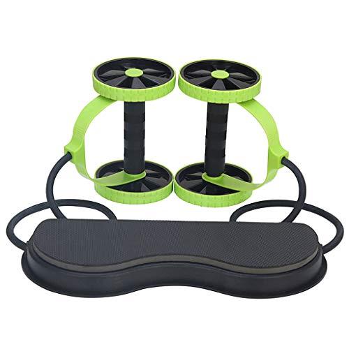 DUOER home Ab Roller Wheel & Knieschoner, Bauch-Übung Roller Wheel, Zugseil Abdominal Muscle Wheel Taille Abnehmen, Strecken Sie Ihre Abs (Color : Green)