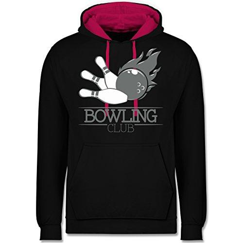 Shirtracer Bowling & Kegeln - Bowling Club Ball Flamme - XS - Schwarz/Fuchsia - JH003 - Hoodie zweifarbig und Kapuzenpullover für Herren und Damen