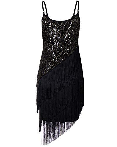 Memory meteor Women's 1920S Flapper Fringe Beaded Party Dress Sequins Latin Dance Dress Ballroom Salsa Tango Dance Costume,Black,M Flapper 20s Fringe