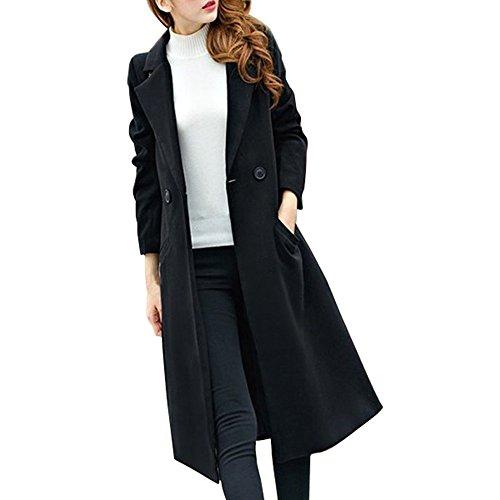YEBIRAL Manteau Femmes Automne et Hiver Nouveau Mode Col en V Bouton avec Poche Long Couleur Unie Poilue Manteau en Laine Parka Outwear Cardigan Veste Top (XL, Noir)