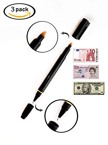 3 set di 2 Penne 2en1 setproducts: rilevatori di banconote false e penna sfera [Euro/dollari/Libri.] Lot de 3 Nero