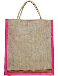 Fusetrend Women's Jute Handbags (Brown And Pink)
