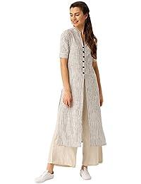 Jaipur Kurti Women's Straight Fit Cotton Multiple Slits White Kurta