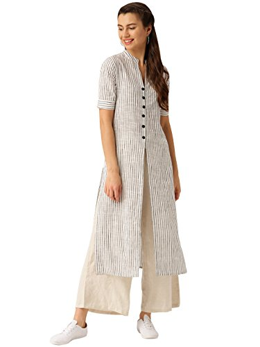 Desi Fusion Women's Straight Fit Cotton Kurta Kurtas & Kurtis at amazon