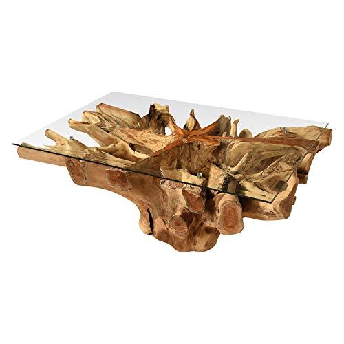 Vakarua Couchtisch aus Wurzelholz Amazonas Sofatisch 80x60 mit Glas Wohnzimmertisch Holz