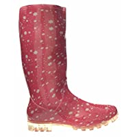 Womens Ladies Girls Pink with White Star Wellies, Snow Winter Rain Wellington Boots - P370