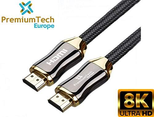 PremiumTech Cable HDMI 2.1 Europe - Câble Audio et Vidéo Ultra High Speed 48GB/s - Chargeur 8K et 10K à 60hz, 4K à 120hz - Dynamic HDR, Dolby Vision, HDR 10 - Or et Noir - 3m