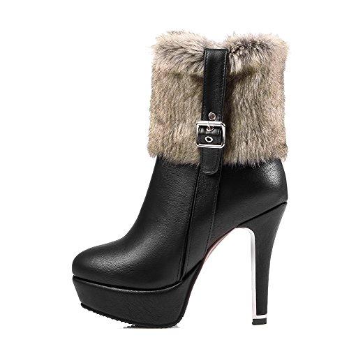 AllhqFashion Damen Blend-Materialien Rein Reißverschluss Rund Zehe Hoher Absatz Stiefel, Grau, 41