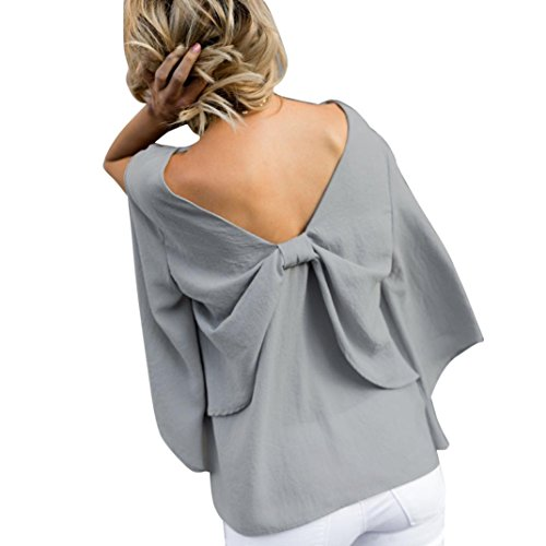 Sonnena Damen Zurück V-Ausschnitt Langarm Abendtop Oberteile Elegant Chiffon Bowknot Party Bluse T-Shirt Freizeit Lose Rückenfrei Hemdbluse Hemden Pullover Pullover (XL, Grau)