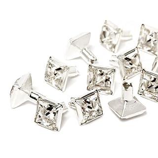 Swarovski Chaton-Nieten Quadrat Elements 8mm (Crystal, Silber) - 4mm Schaft, 10 Stück