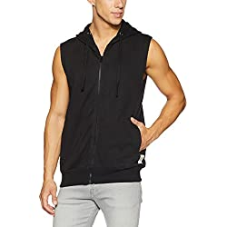 Symbol Men's Sleeveless Sweatshirt Jacket (AW17-SW-ZP-16_L_Jet Black)