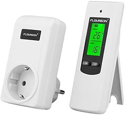 Floureon TS-808 EU Termostato Controlador de Temperatura (Conecta y Reproduce, Termostato Remoto, Tecnología de Radio Frecuencia, Automática Encender Apagar Dispositivo de Calefacción, Mantener Ambiente Constante)