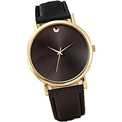 WINWINTOM Women Retro Design Leather Band Wrist Watch Black
