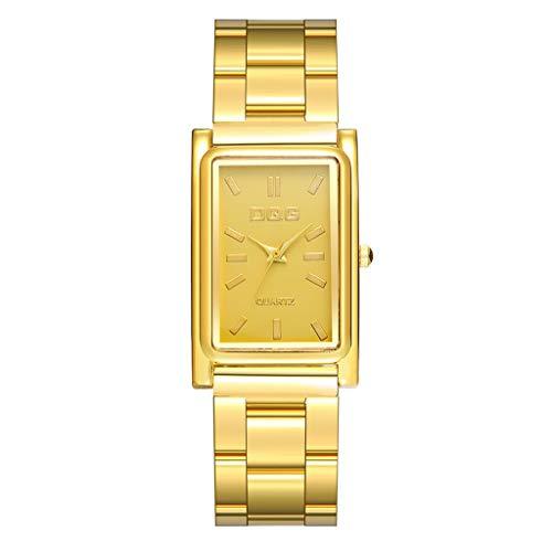 Luckhome Uhren Elegant Design Goldene Uhr Unisex Business Mode Kleid Analog Quarz Armbanduhr Kristall Analoge Quarz-Armbanduhr Armband Lange, Quadratisch Gravierte Aus Stahlgürtel(Gold)